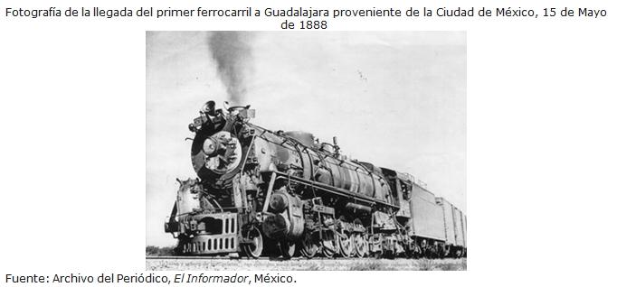 Fotografía de la llegada del primer ferrocarril a Guadalajara proveniente de la Ciudad de México, 15 de Mayo de 1888.