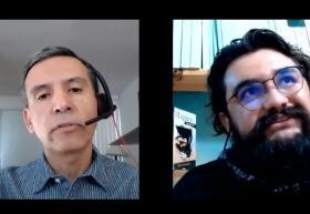Alejandro Aguilar, asesor y Martín Jaramillo, estudiante  durante la sesión