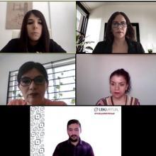 Egresada y sinodales de proyecto durante la sesión virtual