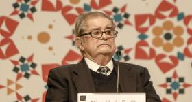 Miguel León Portilla, durante la feria Internacional del Libro