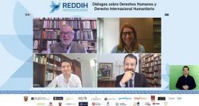autoridades de la UdeG y de la Red Internacional de Derechos Humanos y Derecho Internacional Humanitario