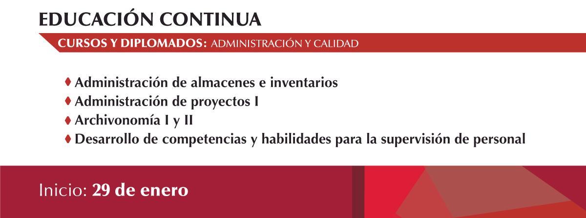 Inicio de cursos sobre administración y calidad 29 de enero, ¡inscríbete!