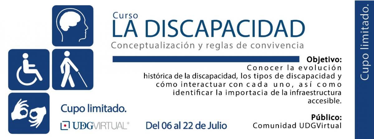 Curso La discapacidad, conceptualización y reglas de convivencia, del 6 al 22 de julio