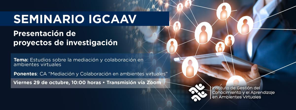 Seminario permanente del IGCAAV, Viernes 29 de octubre 10 horas, participa