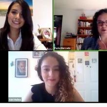 estudiante Guadalupe Valadez, Coordinadora Paola Mercado y profesora Adriana Molina durante webinario