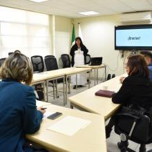 Lourdes Gamboa durante la presentación de su proyecto