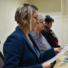 Dra. Blanca Chávez dando lectura al acta